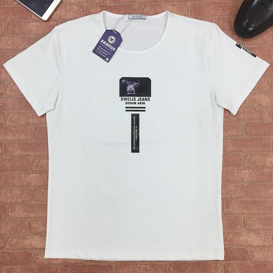 áo Thun Nam Cổ Tròn Trắng Cao Cấp Adm 001 Quần áo Jean Denim Nam